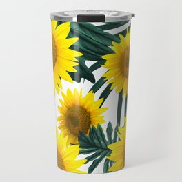 Tropical Sunflower Jungle Leaves Pattern #1 #tropical #decor #art #society6 Travel Mug