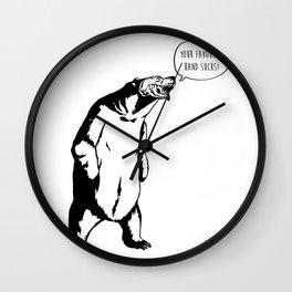 Judgemental Bear by zombieCraig Wall Clock