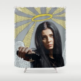 Angel with gun Shower Curtain