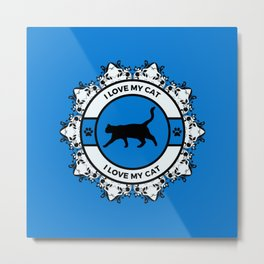 Royal Blue I Love My Cat Metal Print