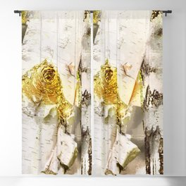 Rustic Gold Knot Close-Up Birch Blackout Curtain