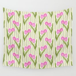 Retro. Pink tulips on a green striped background . Wall Tapestry