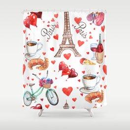 Paris & France symbols pattern Shower Curtain