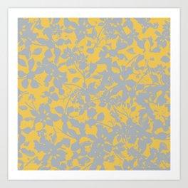 Sunshine Yellow - Broken but Flourishing Floral Pattern Art Print