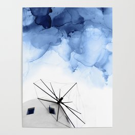 Blue Abstract Painting, Windmill Photography Poster