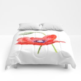 Red Poppy by Teresa Thompson Comforters