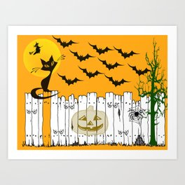 Black Cat on a Spooky Fence - Halloween Art Print