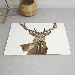Geometric deer Woodland art Forest animals Brown and gray Rug