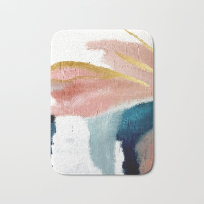 Exhale: a pretty, minimal, acrylic piece in pinks, blues, and gold Badematte