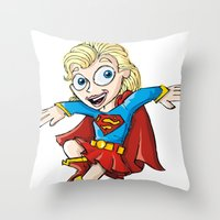 supergirl Throw Pillows featuring Supergirl! by neicosta