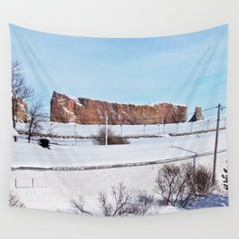Perce Rock in the Snow Wall Tapestry