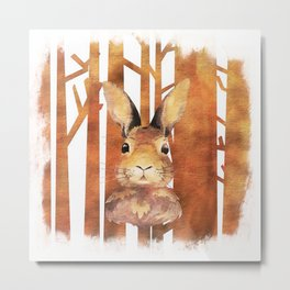 Fast Rabbit in the forest- abstract Hare watercolor Illustration Metal Print