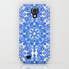 Cobalt Blue & China White Folk Art Pattern Slim Case Galaxy S4