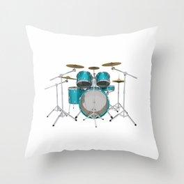 Green Drum Kit Throw Pillow