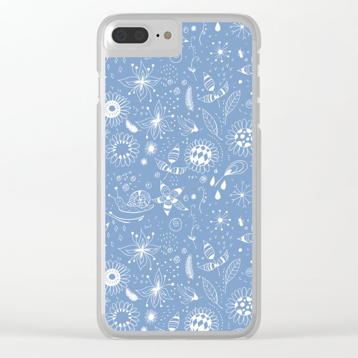 White doodle flowers pattern on blue Clear iPhone Case