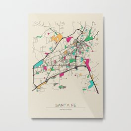 Colorful City Maps: Santa Fe, New Mexico Metal Print