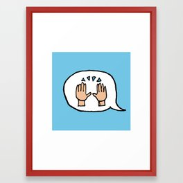 Hand-drawn Emoji - Hands Raised Up In Cheer Framed Art Print