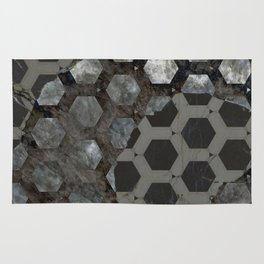 Broken Abstract Hexagon over Marble Rug