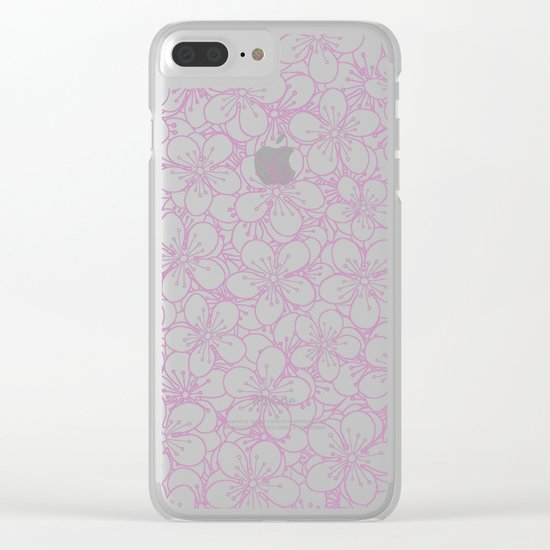 Cherry Blossom Pink Outline - In Memory of Mackenzie Clear iPhone Case