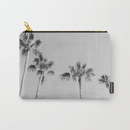 Black Palms // Monotone Gray Beach Photography Vintage Palm Tree Surfer Vibes Home Decor Carry-All Pouch