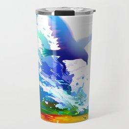 Birds flying. Sea, ocean waves. Gulls, colorful watercolor realistic panting. Blue water.. Travel Mug