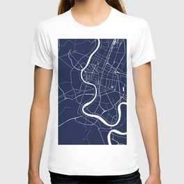 Bangkok Thailand Minimal Street Map - Navy Blue and White II T-shirt