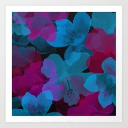 Watercolor flowers on dark Art Print