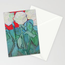 White Roses on Red Stationery Cards