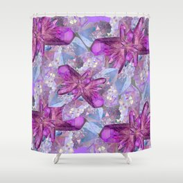 PURPLE AMETHYST & QUARTZ CRYSTALS FEBRUARY GEMS Shower Curtain