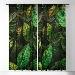 Golden Green Leaves Blackout Curtain