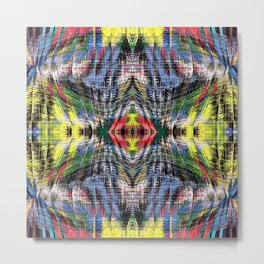 geometric symmetry pattern abstract background in blue yellow green red Metal Print