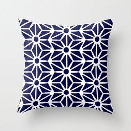 Asanoha Pattern - White on Navy Throw Pillow