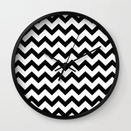 Chevron (Black & White Pattern) Wall Clock