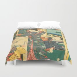 Spring Outing In A Villa Diptych #2 by Toyohara Kunichika Duvet Cover