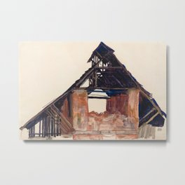 Egon Schiele - Old Gable Metal Print