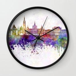 Graz skyline in watercolor background Wall Clock
