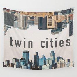 Twin Cities Minneapolis and Saint Paul Minnesota Skylines Wall Tapestry