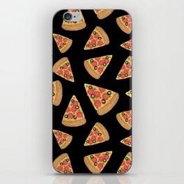 Pizza Party Black Pattern iPhone Skin