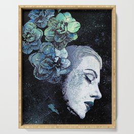 Obey Me: Blue (graffiti flower woman portrait) Serving Tray