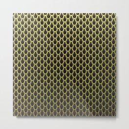 Chain Link Gleaming Golden Metal Pattern Metal Print