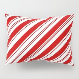 winter holiday xmas red white striped peppermint candy cane Pillow Sham