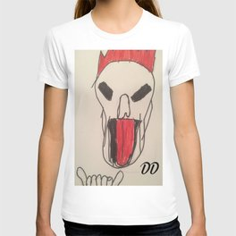 New Skater  skull with rock out hand sign  T-shirt