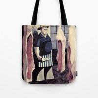 butcher billy Tote Bags featuring The Butcher by Ana Elisa Granziera
