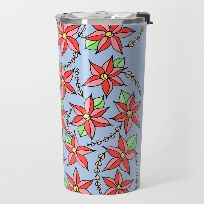 Red flowers on light blue Travel Mug