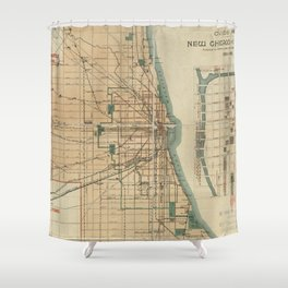 Vintage Map of Chicago Illinois (1889) Shower Curtain