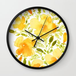 Watercolor California poppies (Quad set, #1) Wall Clock