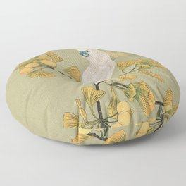 Cockatoo and Ginkgo Tree Floor Pillow