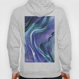 Abstract Teal Purple Black Glitter Marble Hoody