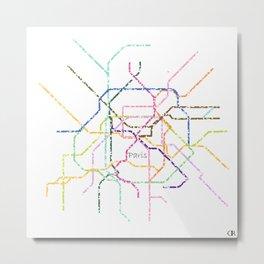 Paris Subway Map Art Metal Print