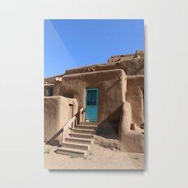 Taos Pueblo  Blue Door Metal Print